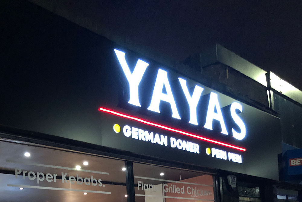 Signs Glasgow Yayas German Doner Peri Peri 3D Light Letters Light Box Signs Glasgow Edinburgh Signs
